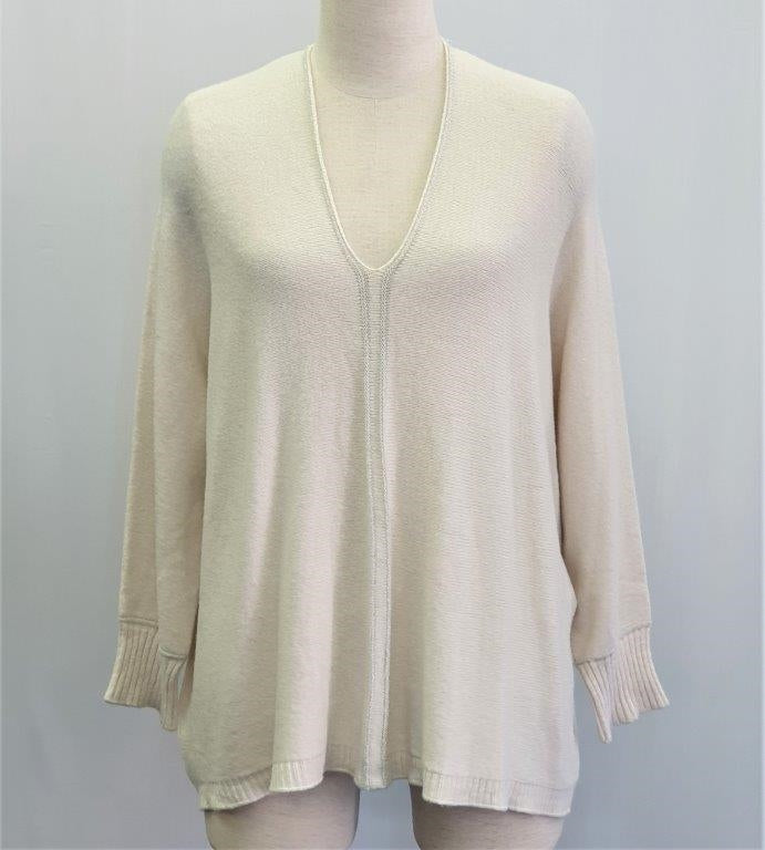 V Neck Relaxed Fit Jumper - Cream