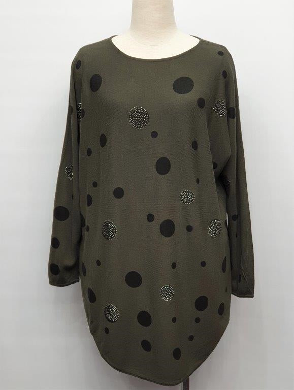 Sparkly Spots Thin Knit Jumper - Green