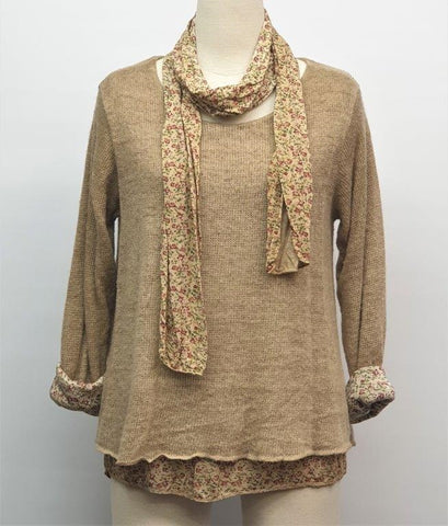 Ditsy Double Layer Top & Scarf - Taupe