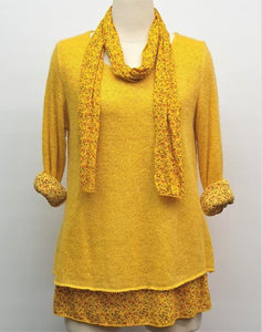 Ditsy Double Layer Top & Scarf - Yellow