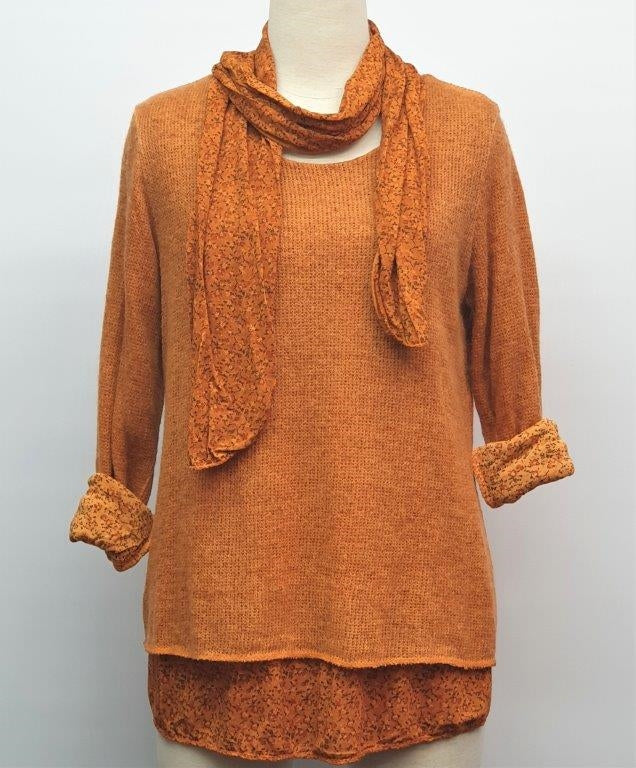 Ditsy Double Layer Top & Scarf - Orange