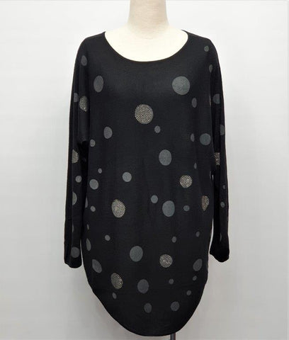 Sparkly Spots Thin Knit Jumper - Black