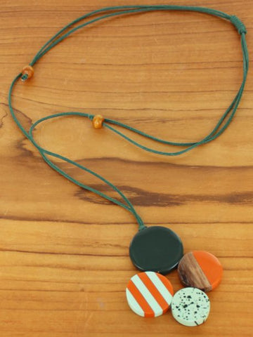 Wood & Resin 4 Disc Pendant - Orange & Green