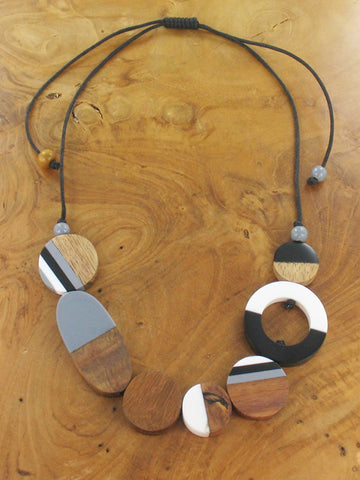 Mixed Shape Bead Necklace - Black & White