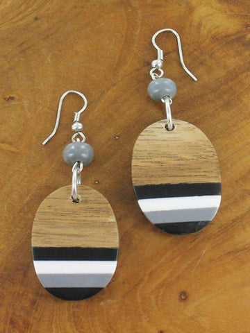 Striped Drop Earrings - Monochrome