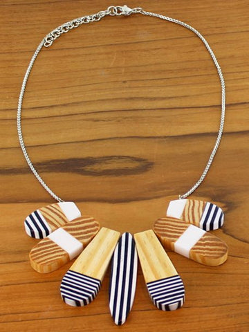 Striped Wood & Resin Fan Necklace - Black & White