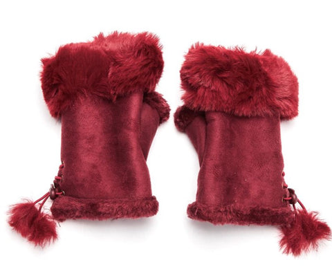 Faux Fur and Suede Fingerless Mittens - Maroon
