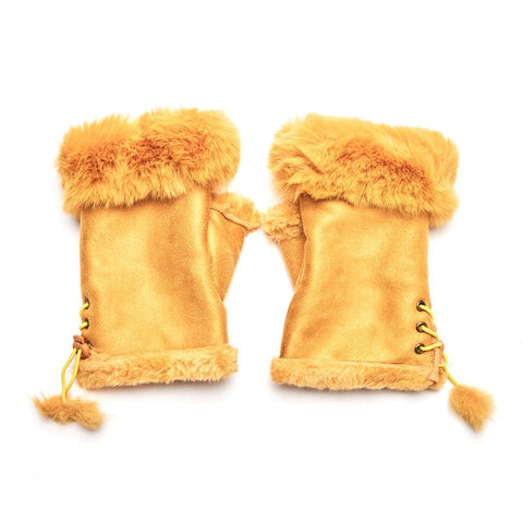 Faux Fur and Suede Fingerless Mittens - Mustard