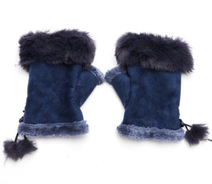 Faux Fur and Suede Fingerless Mittens - Navy