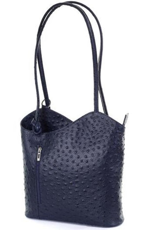 Ostrich Effect Leather Backpack Handbag - Navy