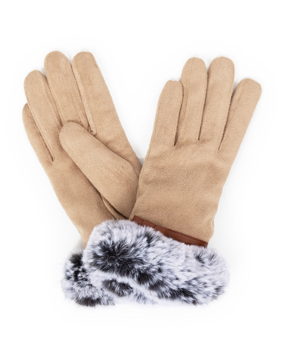 Penelope Faux Suede Gloves by Powder - Stone
