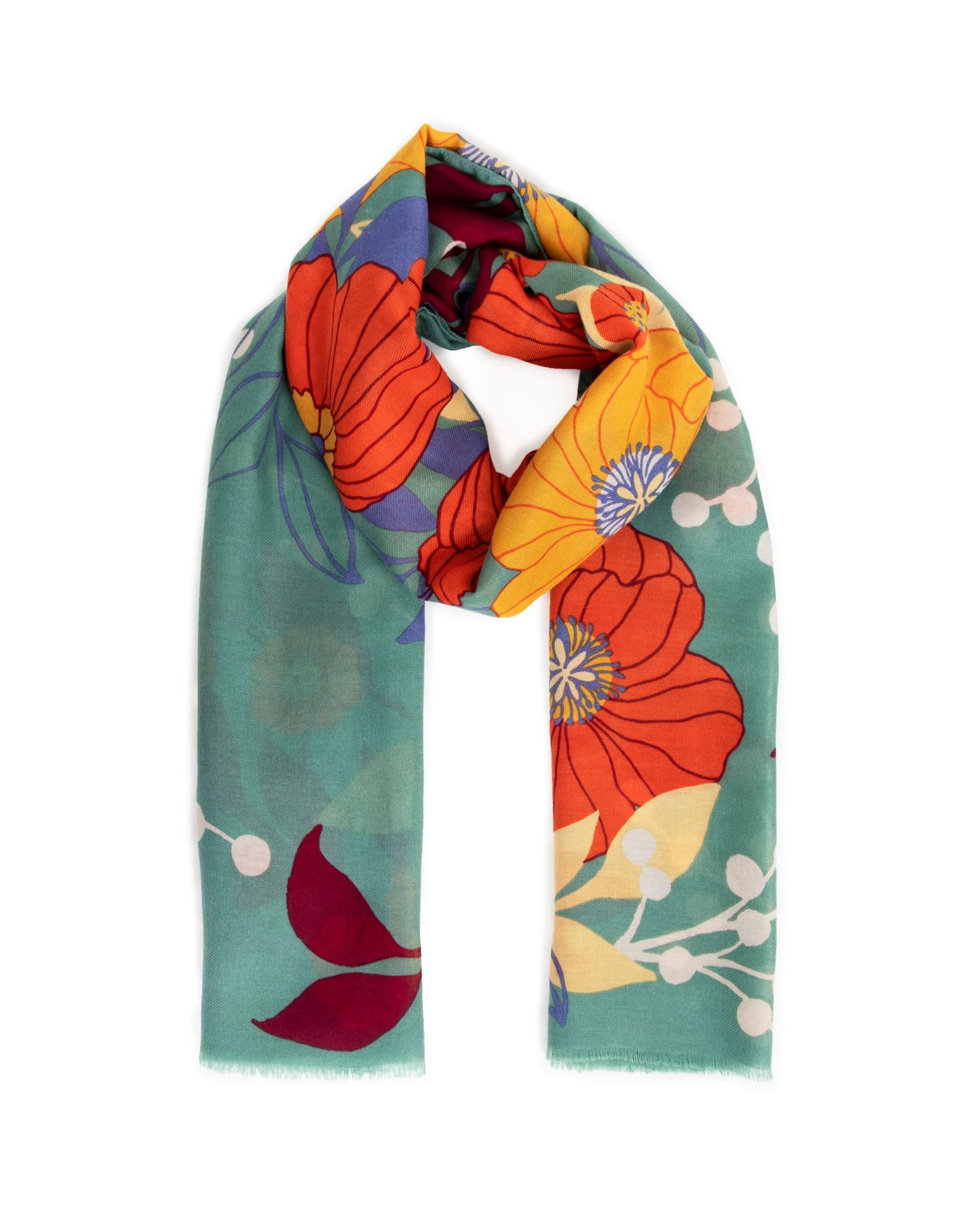 Autumn Floral Print Scarf by Powder