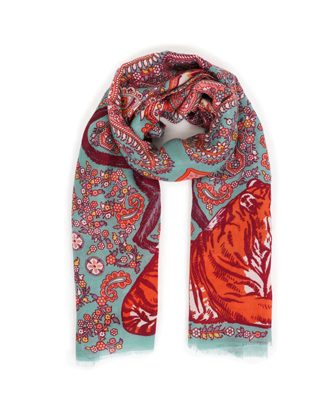 Paisley Tiger Print Scarf by Powder