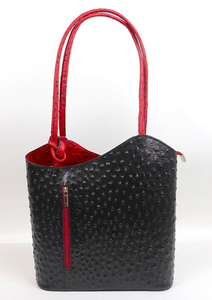 Ostrich Effect Leather Backpack Handbag - Black/Red