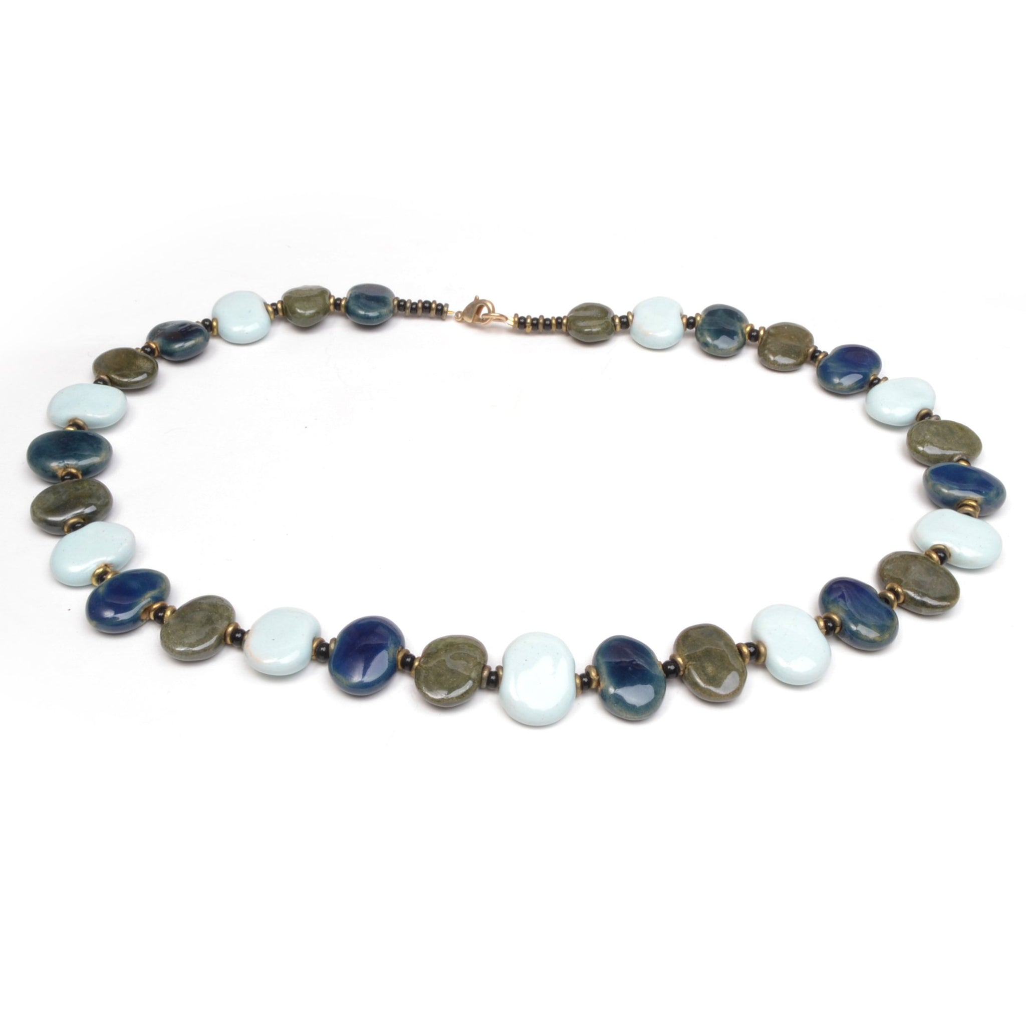 Kazuri Shale Necklace -  Blue Hill