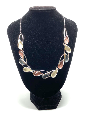 Abstract Petal Necklace - Pink, Grey & Silver