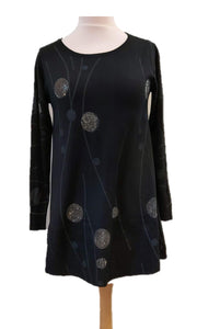 Sparkly Spots Tunic Dress - Black