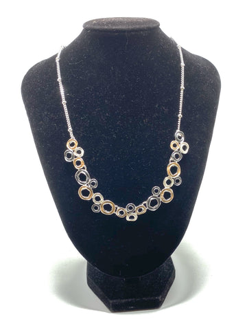 Abstract Bubble Necklace - Gold, Grey & Silver