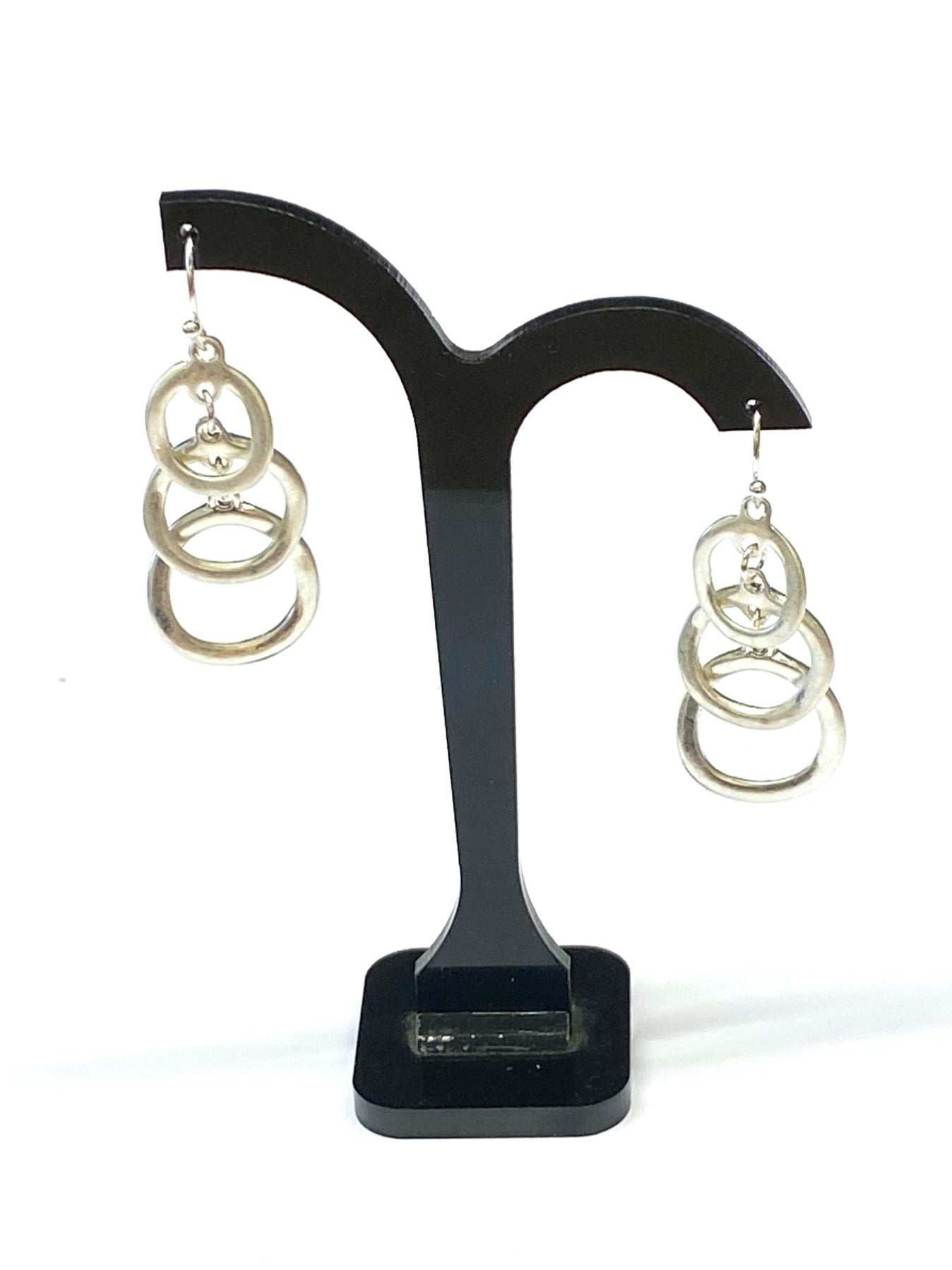 Brushed Silver Triple Hoop Earrings