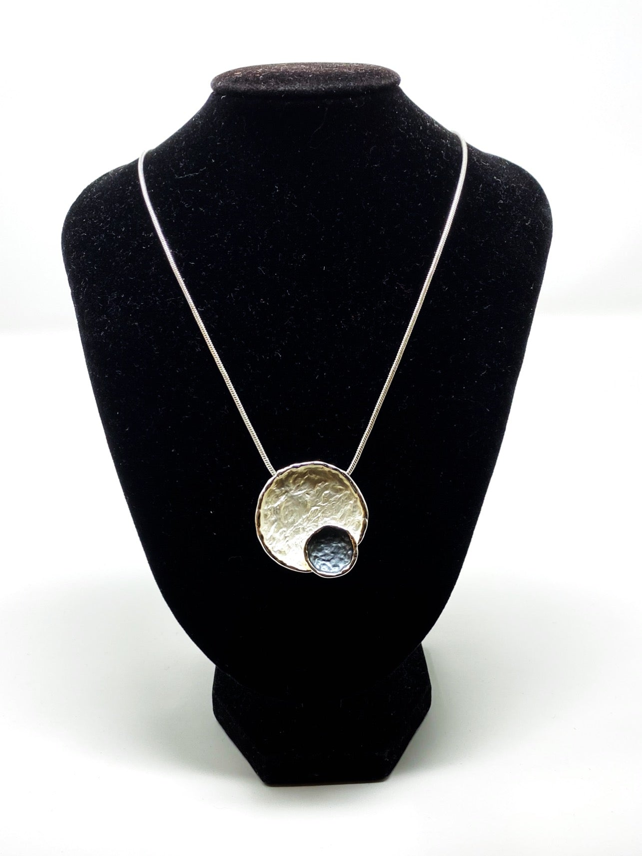 Silver & Navy Circles Necklace