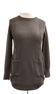 Cable Knit Two Pocket Jumper - Olive Green