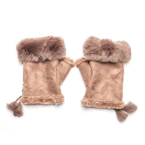 Faux Fur and Suede Fingerless Mittens - Tan
