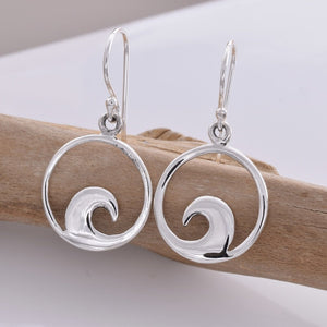 Silver Wave Disc Earrings