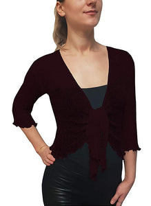 Knitted Shrug Cardigan - Wine