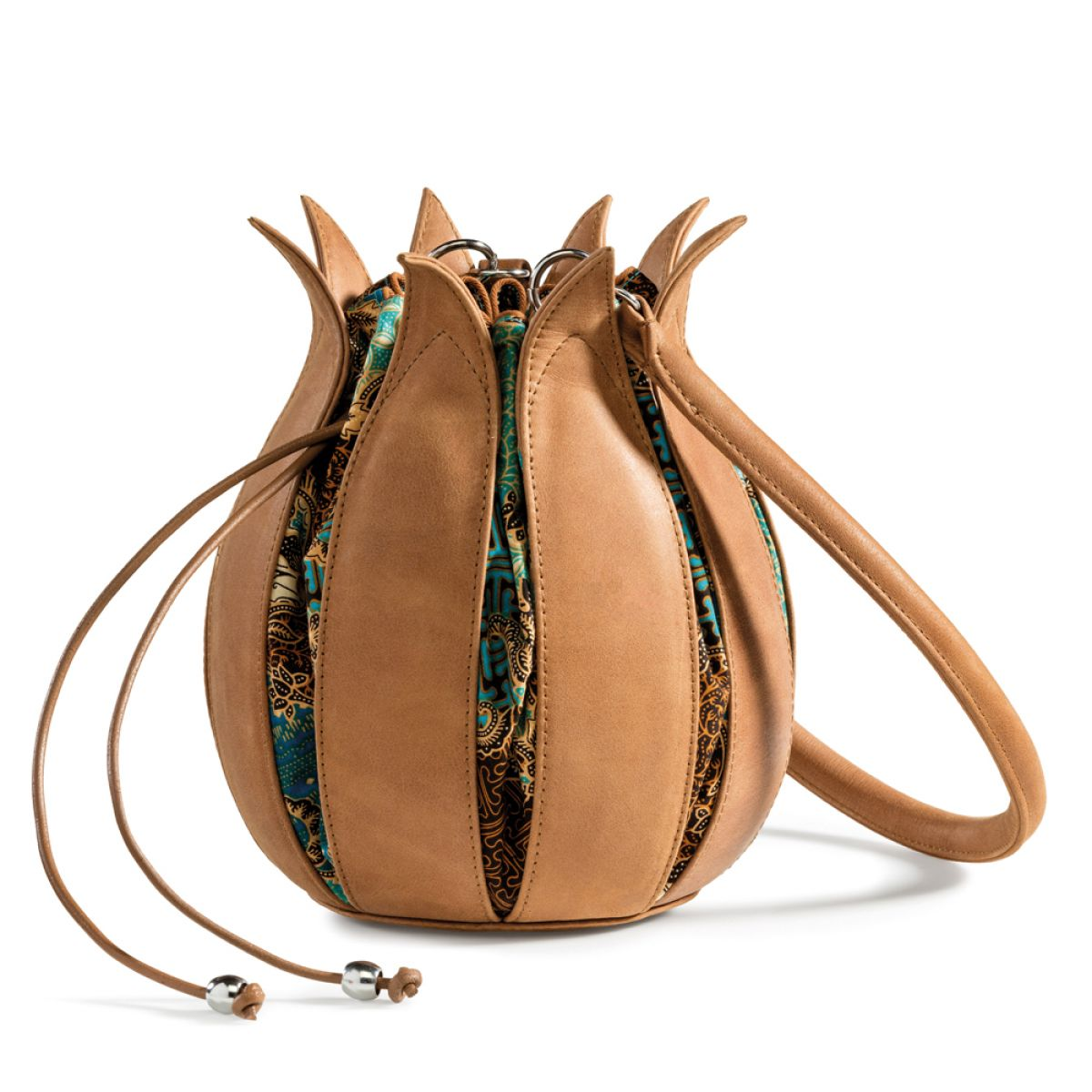 By-Lin Tulip Leather Bag - Cognac with Ibiza Batik Lining