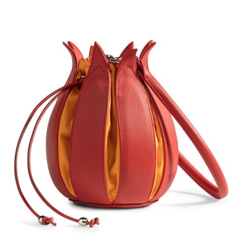 By-Lin Tulip Leather Bag - Orange with Yellow Lining