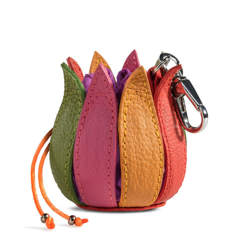 By-Lin Tulip Key ring - Multi Coloured with Purple Lining