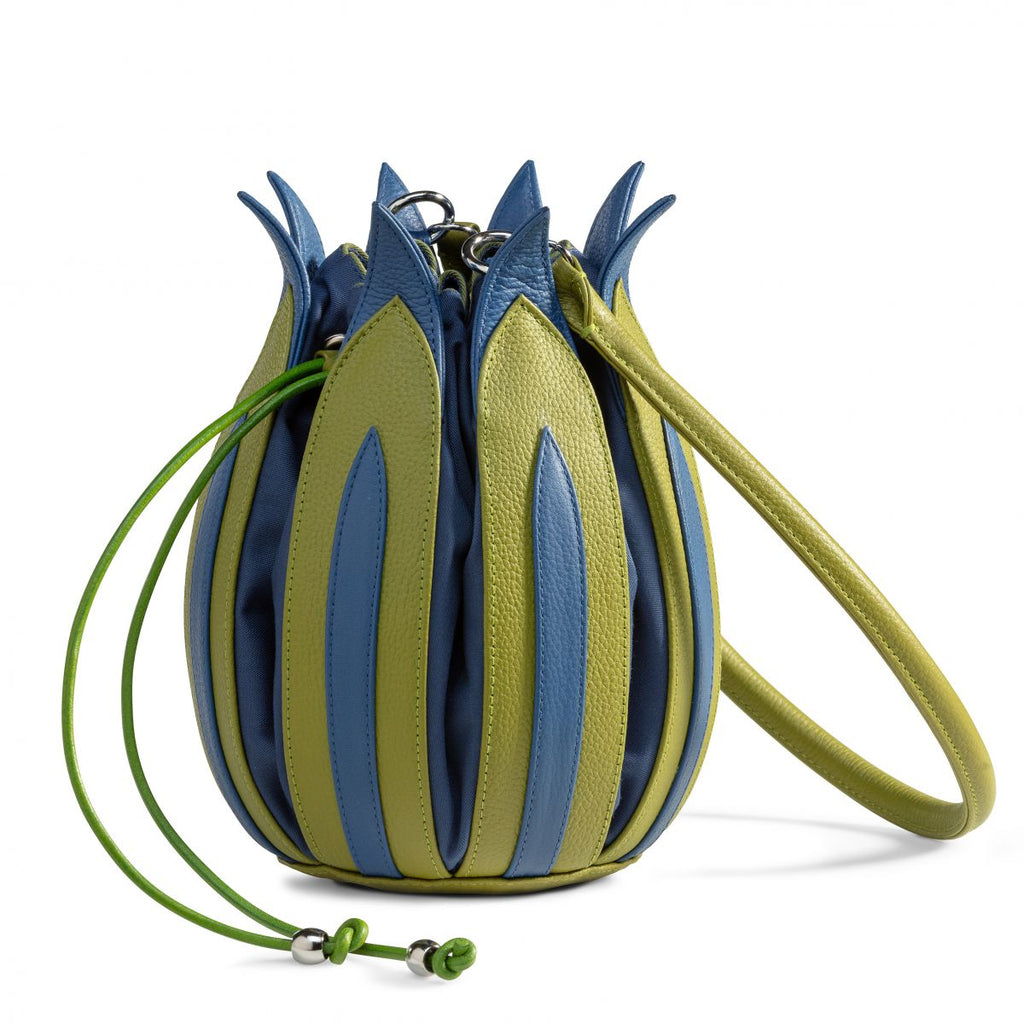 By-Lin Tulip Leather Bag - Lime with Cobalt