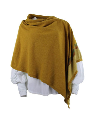 Cashmere Blend Border Poncho - Mustard