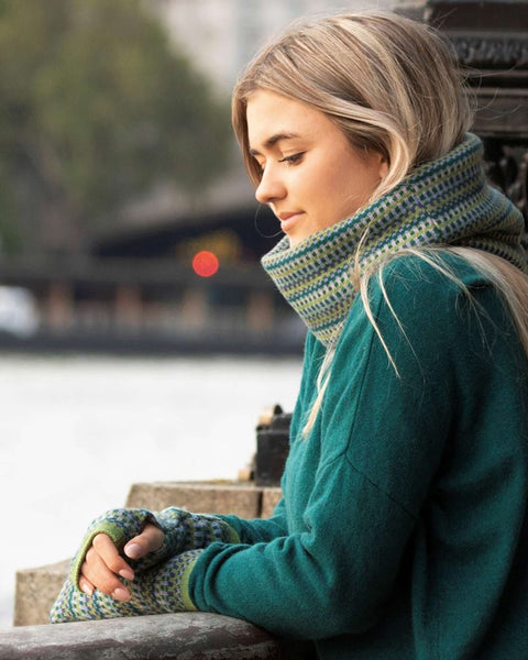 Cashmere Blend Geo Snood - Verdant, Ultraviolet & Peacock