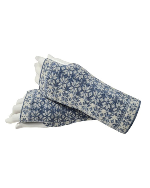 Cashmere Blend Scandi Wrist Warmers - Denim & White