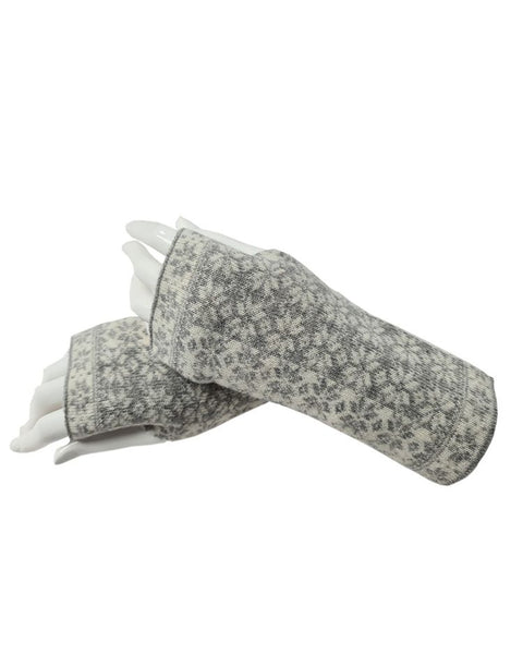 Cashmere Blend Scandi Wrist Warmers - Silver & White