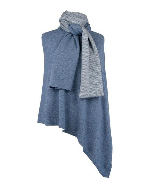 Cashmere Blend Twill Long Scarf - Denim & White