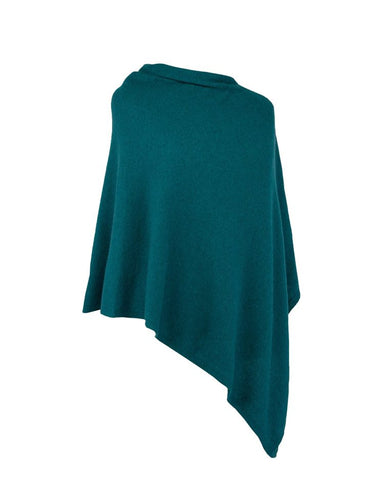 Classic Cashmere Blend Poncho - Peacock Green