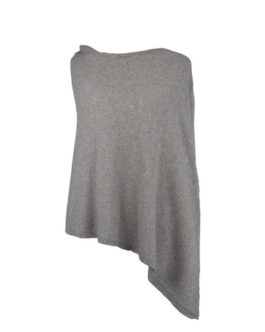 Classic Cashmere Blend Poncho - Silver