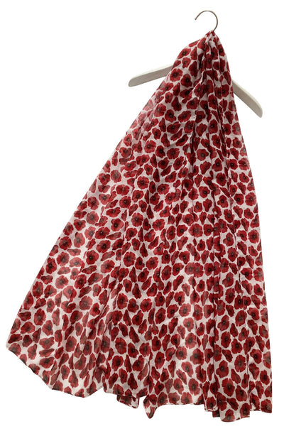 Small Poppy Print Scarf - White