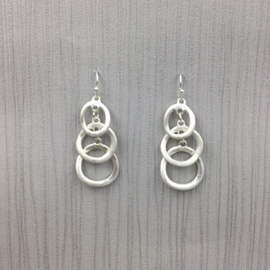 Triple Drop Earrings - Silver