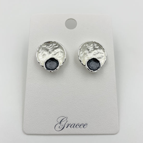 Silver & Navy Circles Earrings