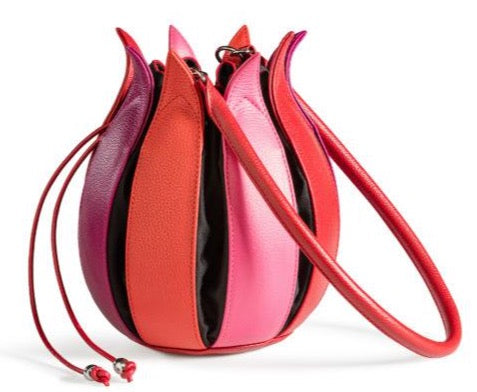 By-Lin Tulip Leather Bag - Pink - Red - Fuchsia, Black lining