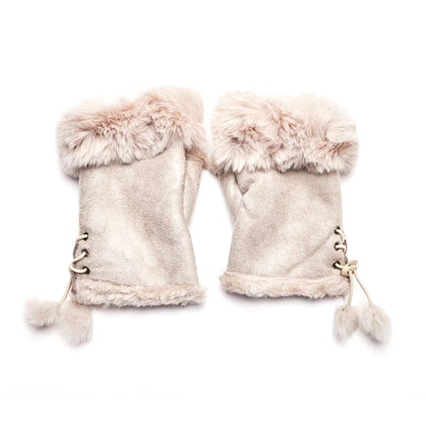 Faux Fur and Suede Fingerless Mittens - White