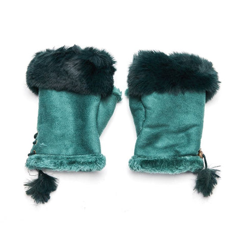Faux Fur and Suede Fingerless Mittens - Emerald Green