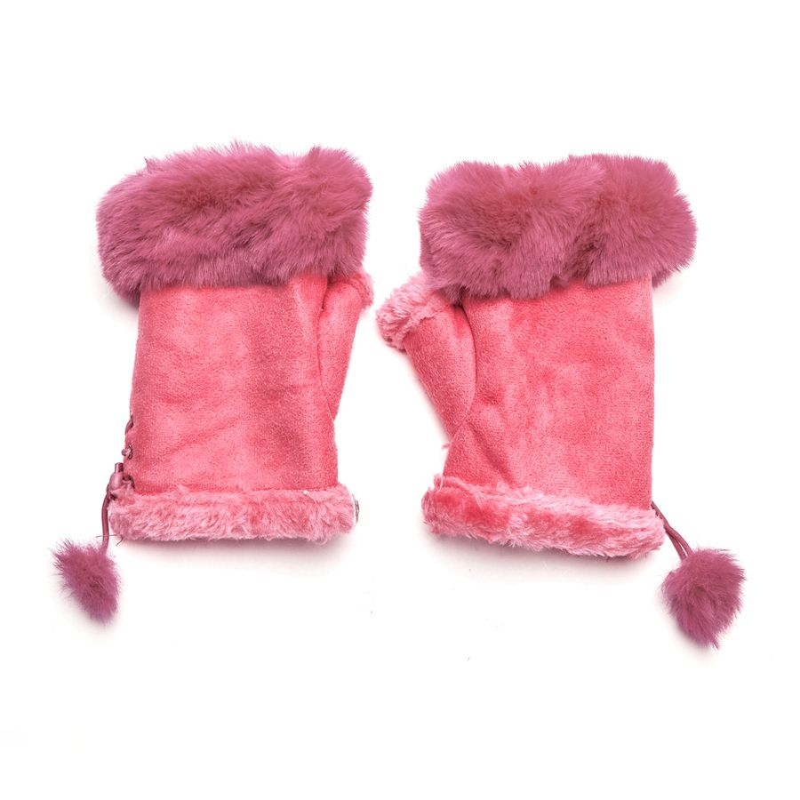 Faux Fur and Suede Fingerless Mittens - Pink