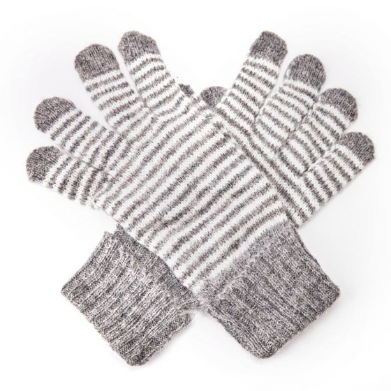 Striped Gloves - Grey