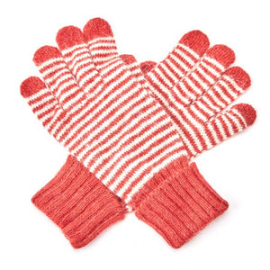 Striped Gloves - Red