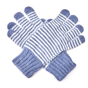 Striped Gloves - Navy