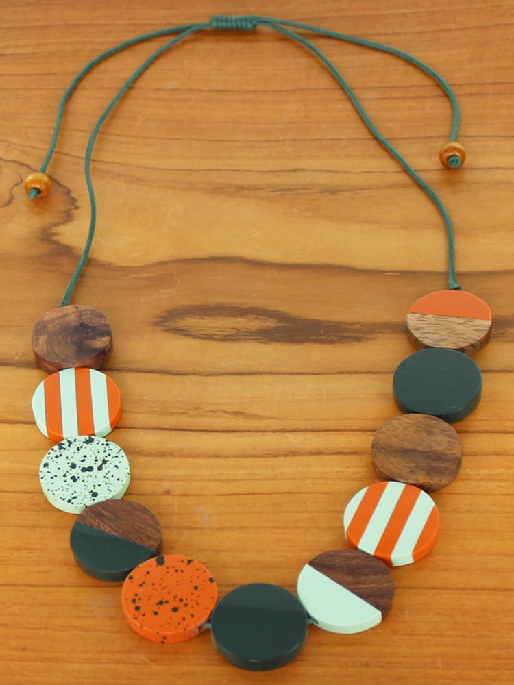 Graduated Wooden Disc Necklace -  Orange, Brown, Blue